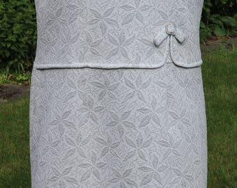 60's white / silver sleeveless shift dress