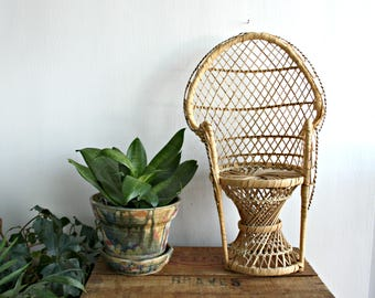 Miniature Wicker Chair Plant Stand or Doll Furniture, Boho Wicker Plant Holder