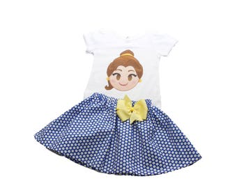 Girl outfit Girl Belle emoji birthday outfit Girl name age Belle outfit, baby outfit Girl Beauty and the Beast outfit Girl clothing