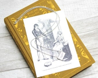 Pride and Prejudice Envelope Charm Necklace / Jane Austen Mr Darcy Letter Vintage Book Page Literary Jewelry Jewellery Library Gift