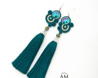 Turquoise tassel earrings Green crystal earrings Swarovski tassel earrings Long fringe earrings Green tassel earrings Soutache earrings