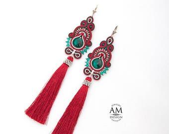 Tassel Earrings Long Maroon Earrings Boho Chic Beads Earrings Red Soutache Jewelry