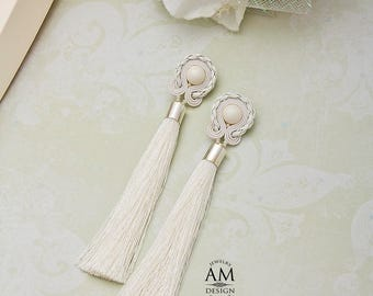 Wedding Earrings White Tassel Earrings Bridal Earrings Pearl Cream Earrings For Bride Soutache Earrings
