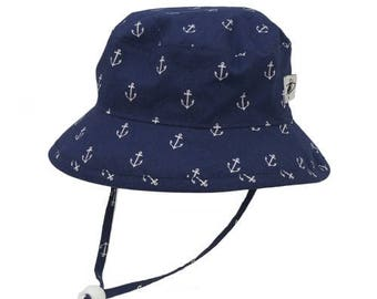 Child's Sun Protection Camp Hat - Cotton Print in Anchor (6 month, xxs, xs, s, m, l)