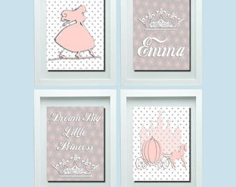 Dream Big Little Princess, Pricess Wall Decor, Pink Gray Decor, Pink Gray  Nursery
