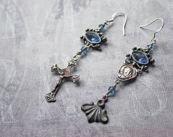 Rosary Earrings, Vintage Assemblage Earrings, Assemblage Jewelry, Recycled Rosary, Catholic, Romantic, Upcycled Jewelry, OOAK, Blue, Silver