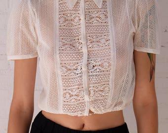 1930s Crochet Lace Blouse