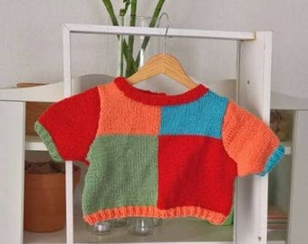 SWEATER baby 12 / 18 months short sleeve colored wool