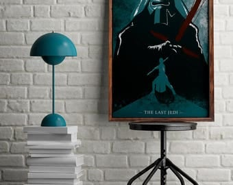 Star wars print for home decor, The Last Jedi illustration, Gift for geek