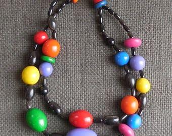 c1982 Amazing RAINBOW Huge WOOD Bead NECKLACE...Avant Garde 2 Row Multicoloured Pop Art Jewellery...Retro Memphis Milano Sottsass Style!