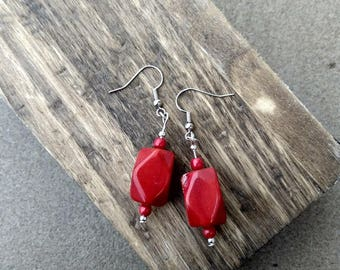 Red Jewel Cut Tagua Nut and Acai Seed Earrings ~ Ecofriendly Organic Natural Jewelry ~ Red Tagua Earrings ~ Vegetable Ivory ~ Valentine Gift