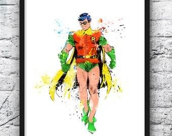 Robin Watercolor Print, Superhero Art, Movie Poster, Batman, Gotham, DC Comics, Wall Art, Home Decor, Kids Room Decor, Nursery Decor - 761