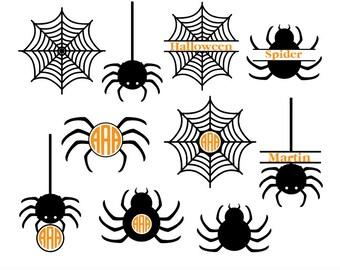 Halloween Svg, spider svg, spider web svg, spider monogram svg, halloween monogram svg, halloween silhouette, circut files, svg, dxf, eps.