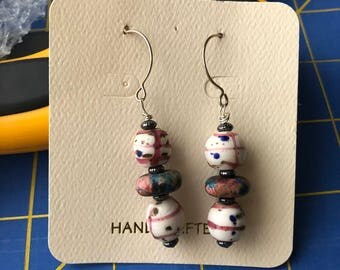 Delicate Pink, white and blue beads with silver accent beads and Sterling silver ear wires