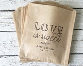 Wedding Favor Bag - Set of 10, 25, 50 | Personalized Wedding Treat Bag | Wedding Favor Bag | Love is Sweet Personalized Favor Bag