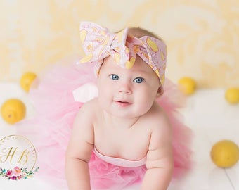 PINK LEMONADE Gorgeous Wrap- headwrap; fabric head wrap; lemon head wrap; boho; newborn headband; baby headband; toddler headband