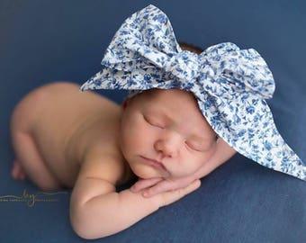 FRENCH BLUE BLOOM Gorgeous Wrap- headwrap; fabric head wrap; floral head wrap; boho; newborn headband; baby headband; toddler headband