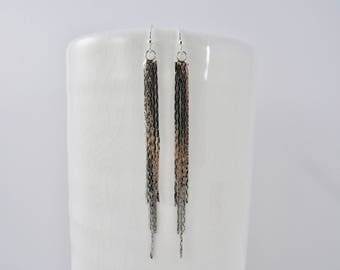 SALE 10% OFF - silver chain tassel earrings with 925 sterling silver ear wires - silver tassel earrings - tassel earrings - simple earrings