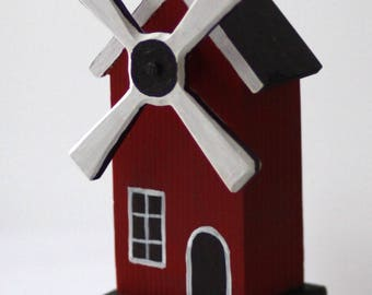 Wooden windmill, home decor