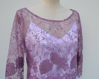 Lace top, blouse purple lace, lace top chic rape, purple top, 3/4 sleeve purple blouse, top 3/4 sleeves