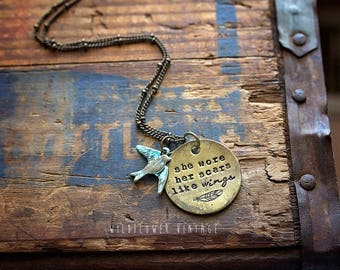 She Wore Her Scars Like Wings Necklace | Hand-stamped Brass Pendant Jewelry Bird Sparrow