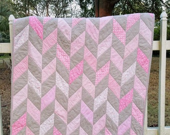 """Baby Girl Pink and Gray Herringbone Quilt with soft Minky back and 16"""" coordinating pillow cover and free US shipping"""