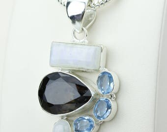 Smokey Topaz Moonstone Swiss Blue Topaz 925 S0LID Sterling Silver Pendant + 4MM Snake Chain p4189