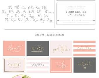 Watercolor Script Calligraphy Logo, Custom Logo Design , Boutique Blogger Watermark Stamp, Photography logo, Chic Logo Branding Board, 19