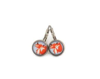 Stud Earrings, glass - stem stainless steel - glass 8 mm - blue earring - orange Fox - hypoallergenic / Jewelry earrings