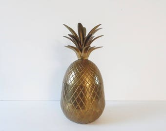 Mid Century Brass Pineapple box 9 inch Vintage brass pineapple candle holder hollywood regency Brass pineapple figurine vintage brass decor