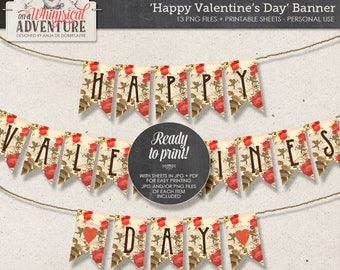 Printable Valentine, Party Decor, Vintage Style Garland, DIY Valentine Decor, Valentine's Day, Digital Download, Angels, Hearts, Red Roses