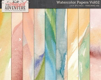 Watercolor painted digital scrapbook papers, digital download, 12x12 printable papers, mixed media, painted textures backgrounds art journal