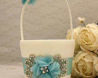 Flower Girl Basket, Flower Girl Belt Sash, Flower Girl Basket and Pillow, Wedding Basket, Wedding Accessories, Aqua Wedding, Flower Girl