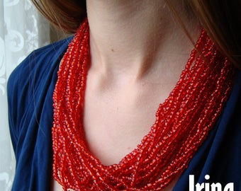 Red multistrand necklace to vyshyvanka. Ukrainian folk red necklace. Ukrainian style necklace