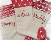 personalised christmas stocking, luxury Christmas stocking monogrammed Christmas stocking