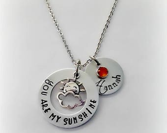 Personalized You Are MY Sunshine Necklace, Hand Stamped Name Necklace, Custom Engraved Swarovski Birthstone Jewelry, Stainless Steel