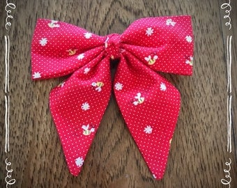 Red Bumble Bee Fabric Hair Bow