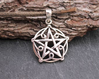 Curling Pentagram Pendant, Sterling Silver, Pentagram, Pendant, Wicca Pendant, Wiccan, Pentagram Necklace, Fancy Pentagram, 925