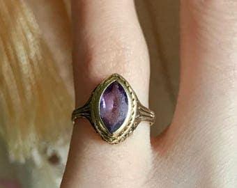 Victorian 14K Gold baby ring Amethyst glass Midi pinky ring