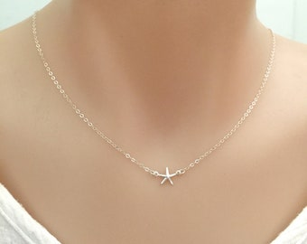 Tiny Gold Starfish Necklace, Choker Necklace, Delicate Necklace, Silver Starfish, Beach Necklace, Minimalist Necklace, Summer Necklace