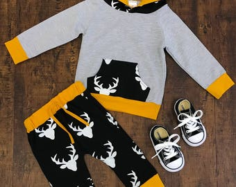 Gender Neutral Mustard Deer Hoodie and Pant Set - UInisex Outfit