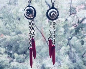 Kuchi Earrings/Gawazee earrings/Tribal fusion earrings/Gypsy earrings/boho earrings/boho chic/red and bronze