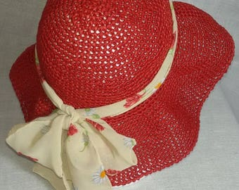 Crochet raffia hat with silk ribbon