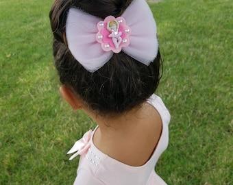 Ballerina Bow, Girl soft pink Ballerina Bow, Tulle Ballerina Bow