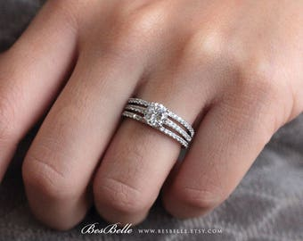 2.10 ct.tw Bridal Set Ring-Brilliant Cut Solitaire-Engagement Ring W/ Two All or Half Eternity Ring-Wedding Ring-Sterling Silver [8551-3]