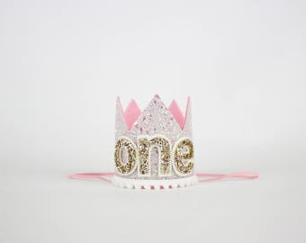 First Birthday Crown | 1st Birthday Girl Outfit for Cake Smash | Baby Girl First Birthday Outfit | 1st Birthday Hat | Baby Pink Gold White
