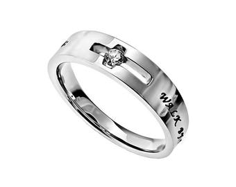 """Solitaire Ring """"Walk By Faith"""""""