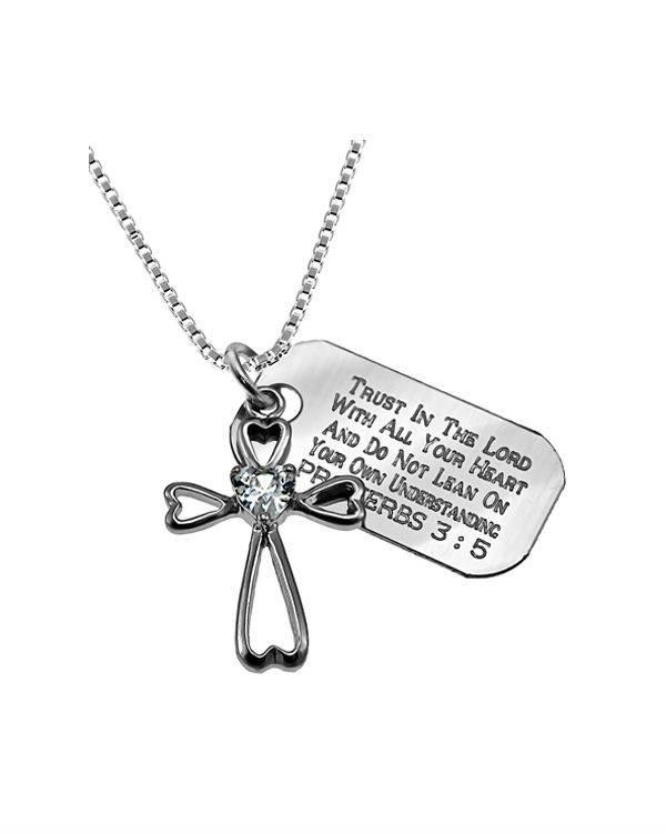 Daisy Heart Necklace Custom Verse Tag Womens