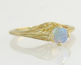 Vintage Estate Engraved 14K Yellow Gold .40ct Genuine Opal Engagement Ring