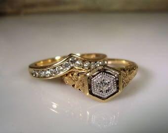 Art Deco Bridal Ring Set, Wedding Rings Set, 10K Gold, Engagement Ring, Wedding Band, Diamond Engagement, Chevron Diamond – Vintage Rings